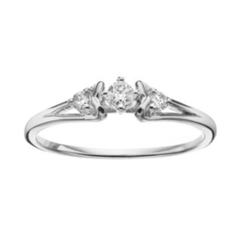 Sterling Silver 1/6 Carat T.W. Diamond 3-Stone Promise Ring