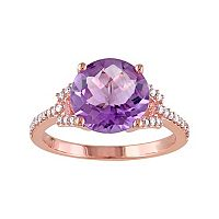 10k Rose Gold Amethyst & 1/6 Carat T.W. Diamond Ring