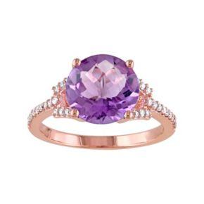 Stella Grace 10k Rose Gold Amethyst & 1/6 Carat T.W. Diamond Ring