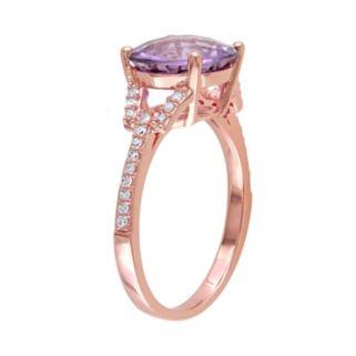 10k Rose Gold Amethyst & 1/6 Carat T.W. Diamond Ring
