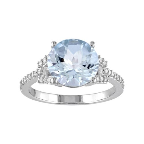 10k White Gold Blue Topaz & 1/6 Carat T.W. Diamond Ring