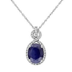 10k White Gold Sapphire & 1/6 Carat T.W. Diamond Oval Pendant Necklace
