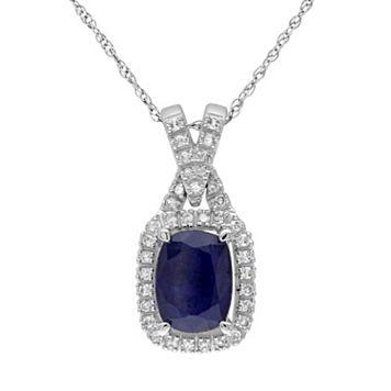 10k White Gold Sapphire & 1/8 Carat T.W. Diamond Rectangle Pendant Necklace