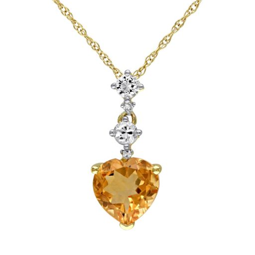 10k Gold White Sapphire & Citrine Heart Pendant Necklace