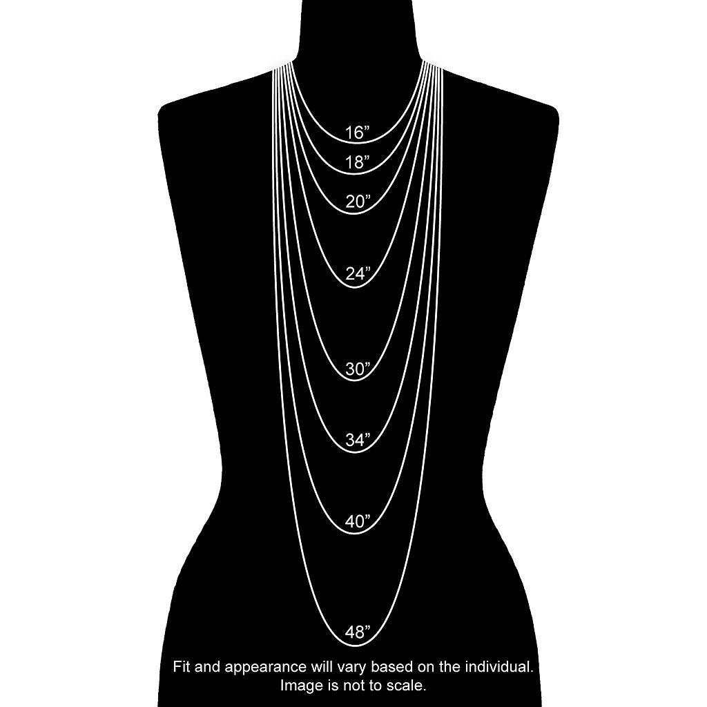 10k White Gold White Sapphire & Blue Topaz Heart Pendant Necklace