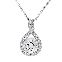 Stella Grace 10k White Gold Aquamarine & 1/5 Cart T.W. Diamond Infinity Pendant Necklace