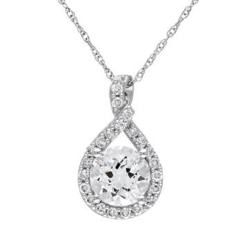 Stella Grace 10k White Gold Aquamarine & 1/5 Cart T.W. Diamond Infinity Pendant Necklace