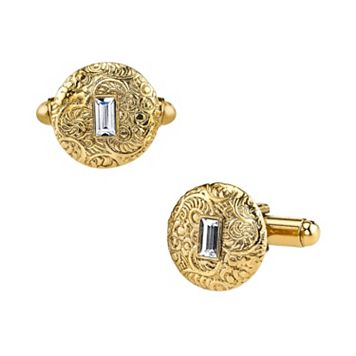 1928 Textured Circle Cuff Links