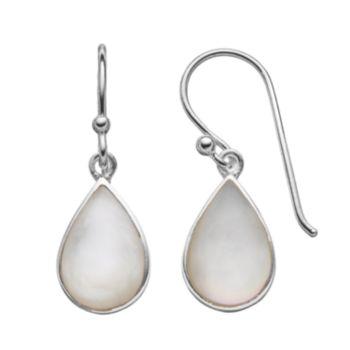 Sterling Silver Mother-of-Pearl Teardrop Earrings