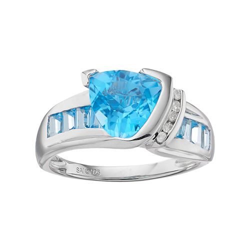Sterling Silver Swiss Blue Topaz & Diamond Accent Ring