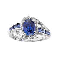 Sterling Silver Lab-Created Ceylon Sapphire & Diamond Accent Halo Ring