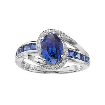 Sterling Silver Lab-Created Ceylon Sapphire & Diamond Accent Halo Ring