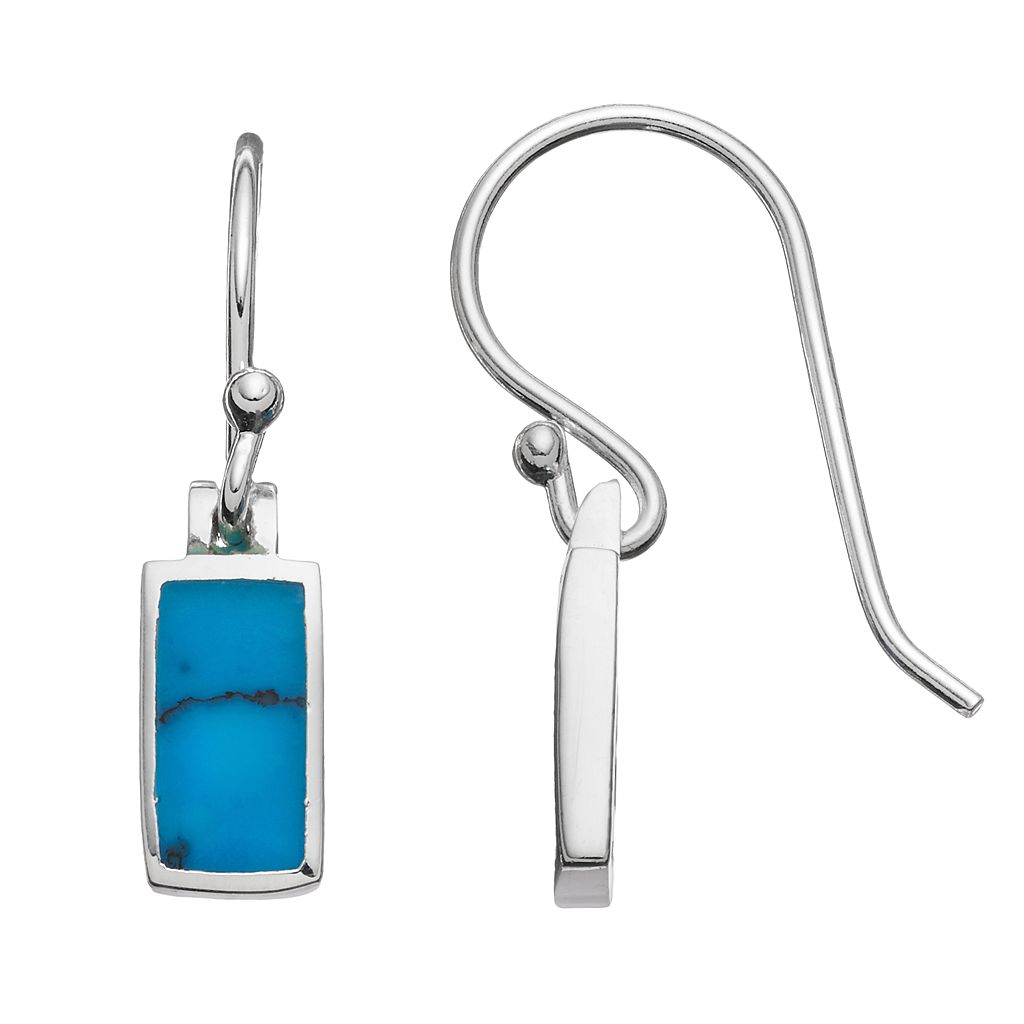 Sterling Silver Turquoise Rectangle Drop Earrings