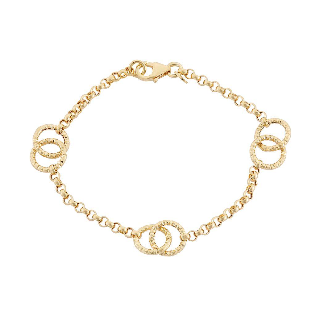 14k Gold Circle Link Rolo Chain Bracelet