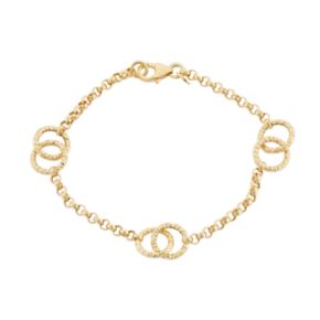 14k Gold Circle Link Rolo Chain Bracelet