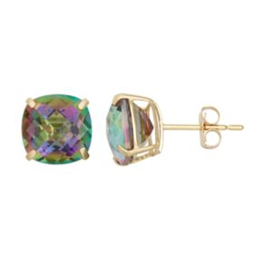Mystic Topaz 14k Gold Stud Earrings