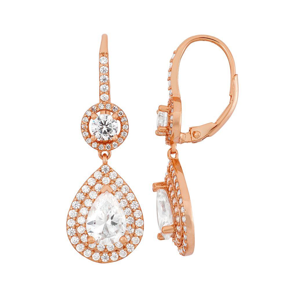 Cubic Zirconia 14k Rose Gold Over Silver Halo Teardrop Earrings