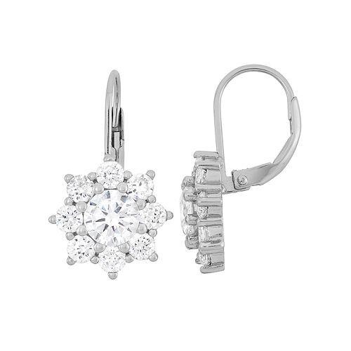 Cubic Zirconia Sterling Silver Flower Drop Earrings
