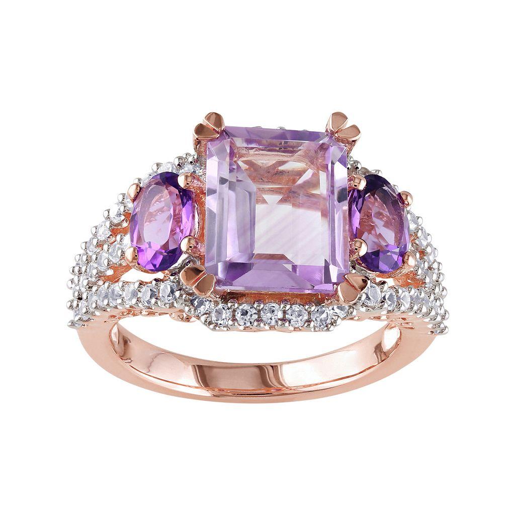 Gemstone Sterling Silver 3-Stone Ring