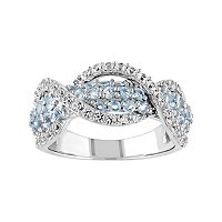Lab-Created White Sapphire & Swiss Blue Topaz Sterling Silver Swirl Ring