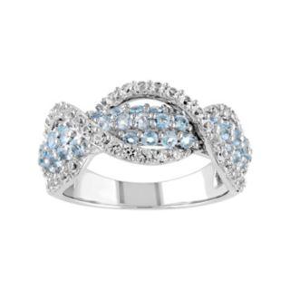 Stella Grace Lab-Created White Sapphire & Swiss Blue Topaz Sterling Silver Swirl Ring