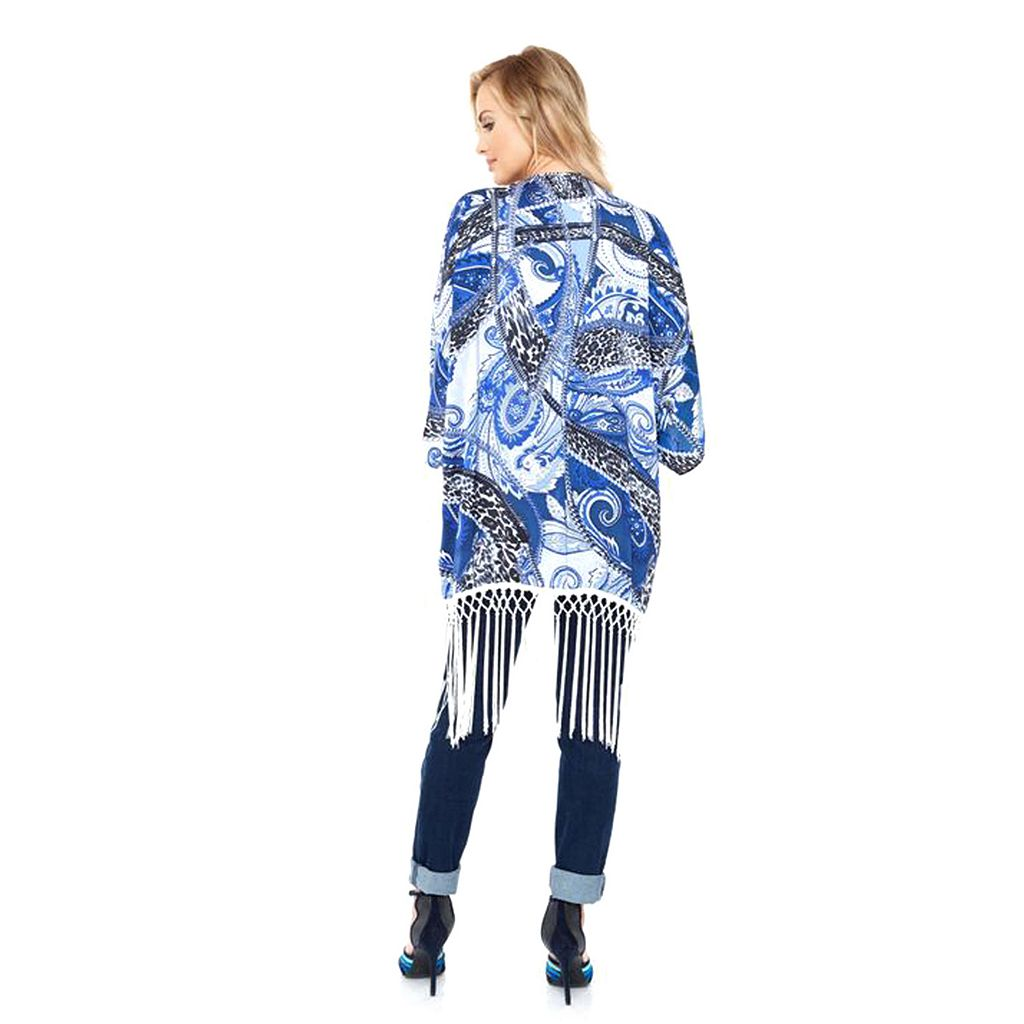 White Mark Print Fringe Open-Front Kimono - Women's