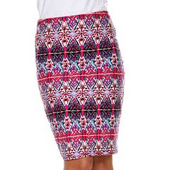 White Mark Print Pencil Skirt - Women's