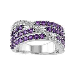 Stella Grace African Amethyst & Lab-Created White Sapphire Sterling Silver Multirow Ring