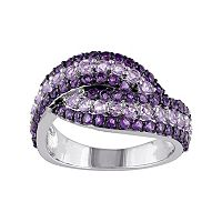 Rose de France & African Amethyst Sterling Silver Bypass Ring