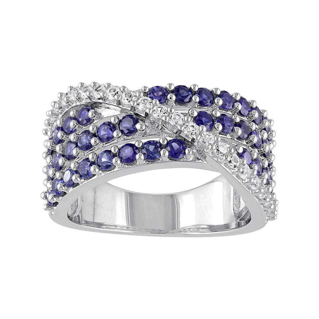 Lab-Created Blue & White Sapphire Sterling Silver Multirow Ring