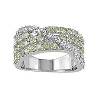 Peridot & Lab-Created White Sapphire Sterling Silver Multirow Ring