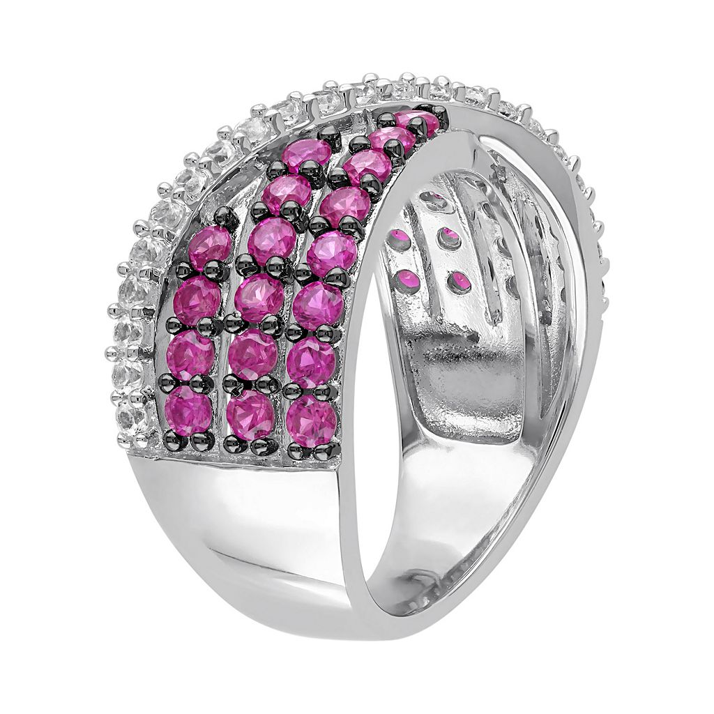 Lab-Created Ruby & Lab-Created White Sapphire Sterling Silver Multirow Ring