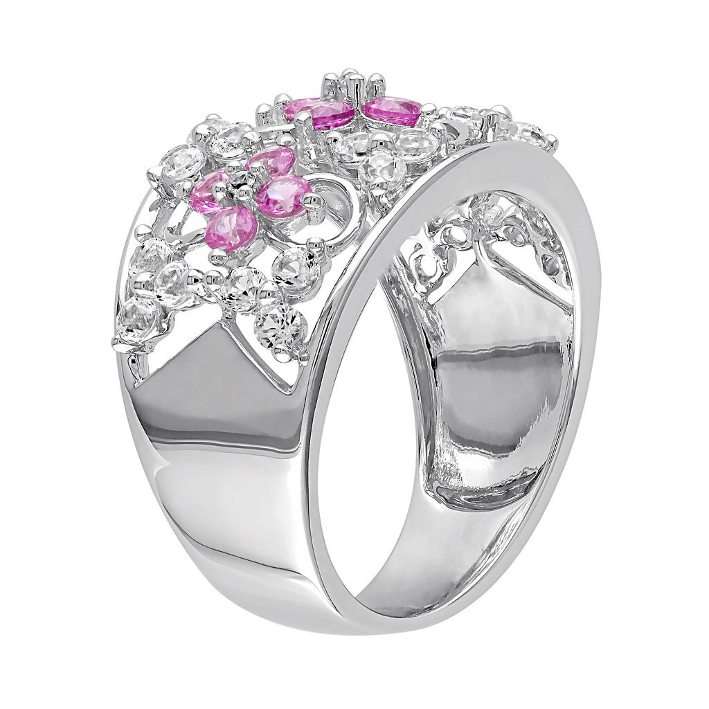 Lab-Created Pink & White Sapphire Sterling Silver Openwork Flower Ring