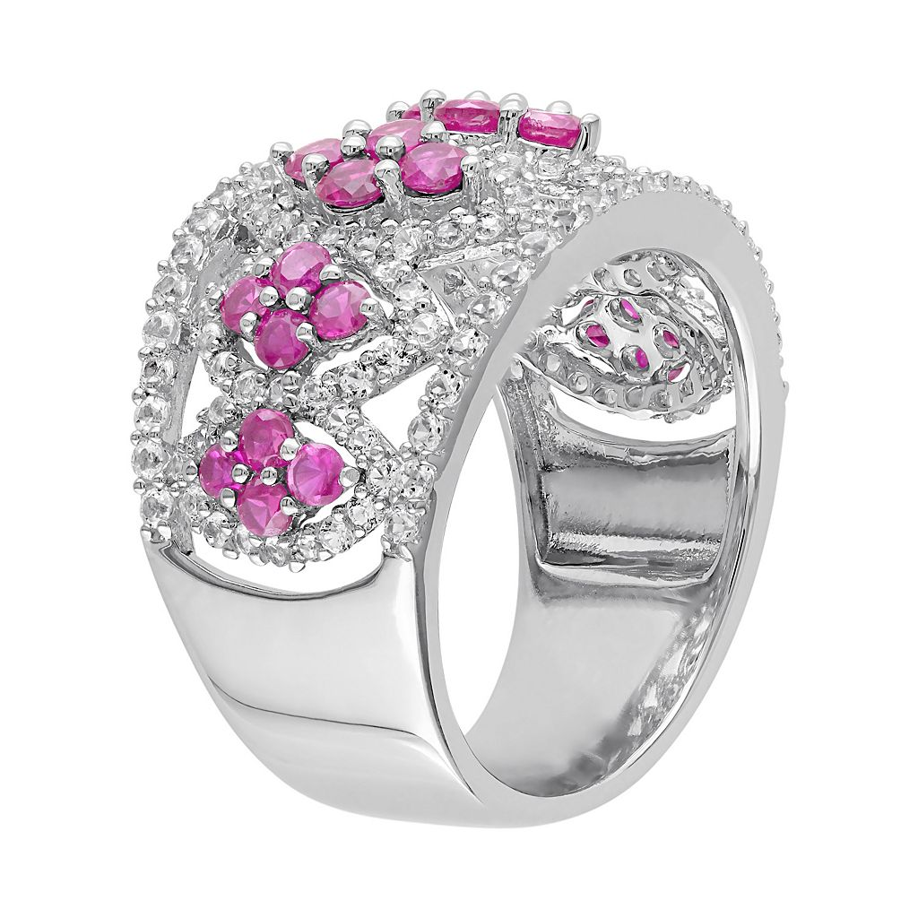 Lab-Created Ruby & Lab-Created White Sapphire Sterling Silver Marquise Flower Ring