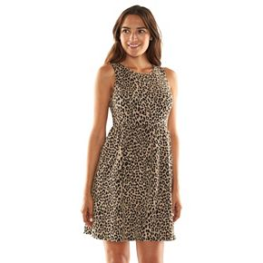 Apt 9 174 Animal Textured Fit Amp Flare Dress Women S Kohls