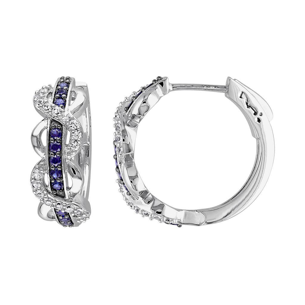 Lab-Created White & Blue Sapphire Sterling Silver Infinity Hoop Earrings