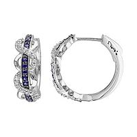 Lab-Created White & Blue Sapphire Sterling Silver Infinity Hoop Earrings