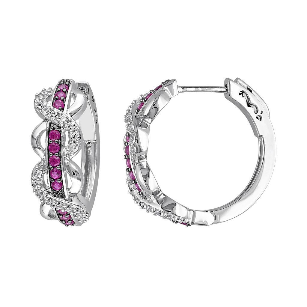 Lab-Created White Sapphire & Lab-Created Ruby Sterling Silver Infinity Hoop Earrings