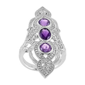 African Amethyst & 1/10 Carat T.W. Diamond Sterling Silver 3-Stone Ring