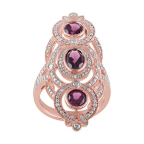 Rhodolite & 1/10 Carat T.W. Diamond Sterling Silver 3-Stone Ring