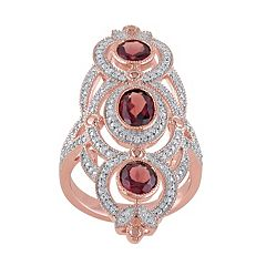 Garnet & 1\/10 Carat T.W. Diamond Pink Rhodium-Plated Sterling Silver 3-Stone Ring by