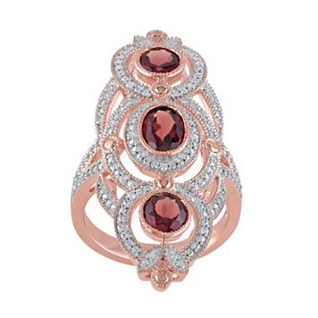Garnet & 1/10 Carat T.W. Diamond Pink Rhodium-Plated Sterling Silver 3-Stone Ring