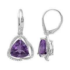 Amethyst & Diamond Accent Sterling Silver Drop Earrings