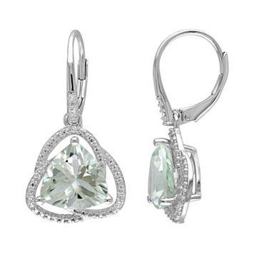 Green Quartz & Diamond Accent Sterling Silver Drop Earrings