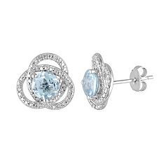 Sky Blue Topaz & 1/10 Carat T.W. Diamond Sterling Silver Button Stud Earrings