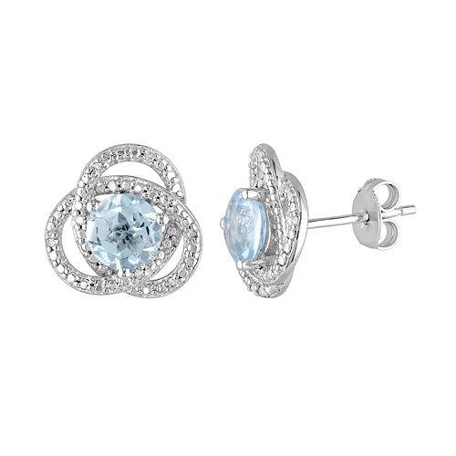 Stella Grace Sky Blue Topaz & 1/10 Carat T.W. Diamond Sterling Silver Button Stud Earrings