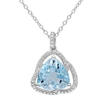Sky Blue Topaz & Diamond Accent Sterling Silver Pendant Necklace