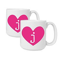 Cathy's Concepts Heart of Love 2-pc. Monogram Coffee Mug Set