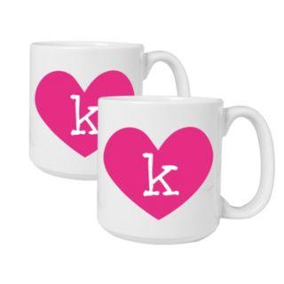 Cathy's Concepts Heart of Love 2-pc. Monogram Coffee Mug Set