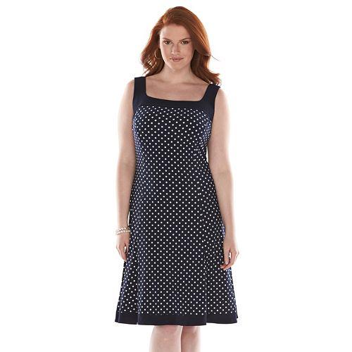ed7a70ea420 Plus Size Chaps Polka-Dot Fit   Flare Dress